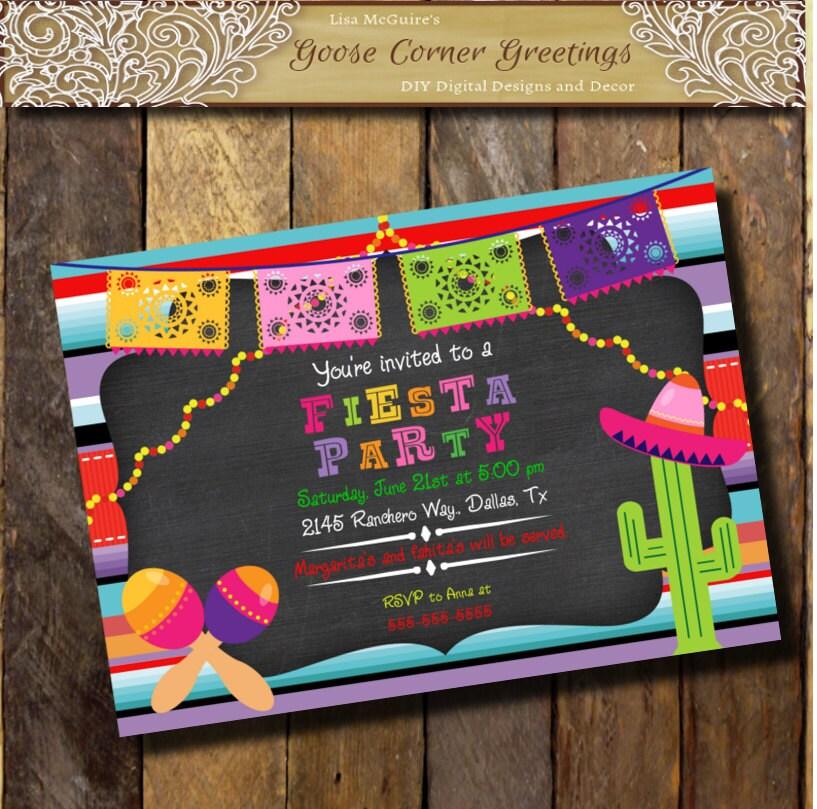 FIESTA Printable invitacion Sarape Mexican Birthday Party
