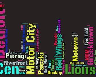 Detroit, Michigan- The D- Motor City Word Art: DIGITAL JPG FILE