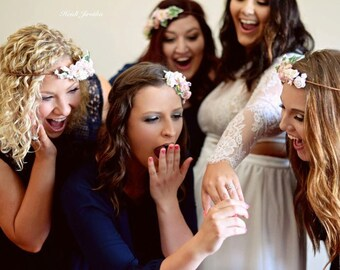 Bachelorette Party Flower Crown Kits 5 or more - Bridesmaids Flowercrowns- DIY Flower Crown- DIY Wedding Kits- Wedding Party Headbands