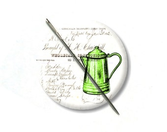 Vintage coffee pot collage needle minder magnet cross stitching sewing tool sewing notion wife gift under 10 stocking stuffer farm house