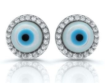 small evil eye  stud earrings sterling silver, Evil Eye CZ studs, good luck earrings, pearl and cz stud earrings, evil eye pearl earrings