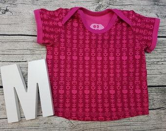 Tshirt Babyshirt Flowers retro Scandinavian Sweden Pink pink American neckline short sleeve gift baby wax shirt Shirt Girl