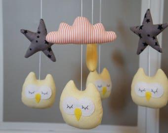 Mobile owls yellow star grey cloud orange and Yellow Moon baby