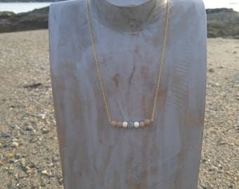 Gold dainty chain aromatherapy bar necklace