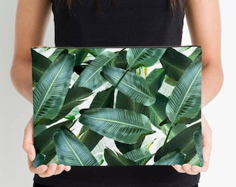 Banana leaf Pouch bag, makeup bag, jungle print, tropical palm leaf, 12.5 x 8.5 inches, sturdy canvas with zipper - lined