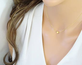 Personalized necklace, Hand stamped initial necklace, Dainty necklace, Gold dot necklace, Bridesmaid necklace, Gift for wife