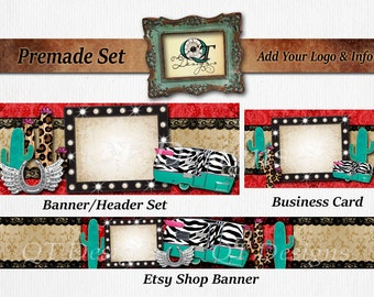 Premade Business Set BOHO Western Header Banner Business Card Leopard Pink Accents Zebra Turquoise Camper Bling Marquee Cactus Glitter