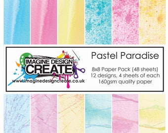 "Pastel Paradise 8x8"" Paper Pack (48 sheets, 4 each of 12 designs)"