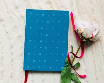 Handmade,Journal,Diary,Notebook,Writing,Bullet Journal,Wabi Sabi,Original,Hand-bound,Blue,Fabric,Thick,Hardcover,Dotted,Lined,Blank Book