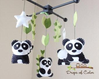 Panda Mobile, Baby Mobile, Baby Crib Mobile, Nursery Family Pandas Mobile, Panda Ceiling Mobile, Bamboo Trees Mobile, Black and White Colors
