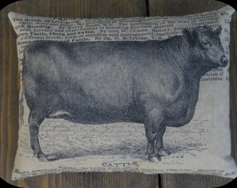 Bull Feed Sack Pillow