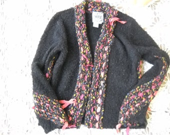Confetti Ribbons in stained glass colors adorn this Black Nubby knit acrylic and poly cardigan, size small