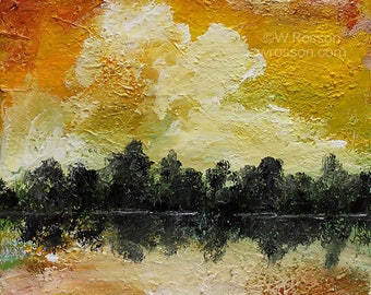Sunrise Lake, Original Painting, Landscape Painting, Sunrise, Lake, Clouds, Trees, Winjimir, Home Decor, Office, Wall Art, Gift, Lake Life.