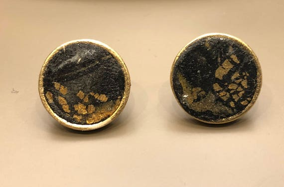 SJC10028 - Earrings - contemporary handmade black/gold polymer clay silver color metal studs