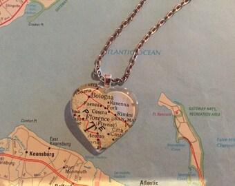 Florence Vintage Map Pendant Necklace