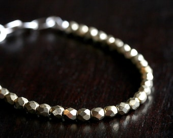 Metallic gold beaded bracelet, stacking bracelet, 4mm Czech glass beads, sterling silver, Mimi Michele Jewelry