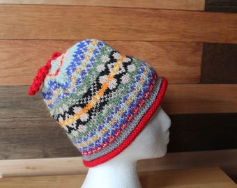 Hand knitted Adult fair isle hat