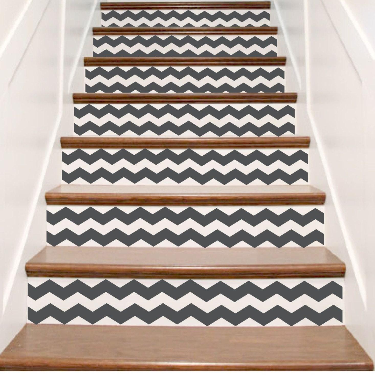 Vinyl CHEVRON Stair Riser Decals Staircase Stickers Custom