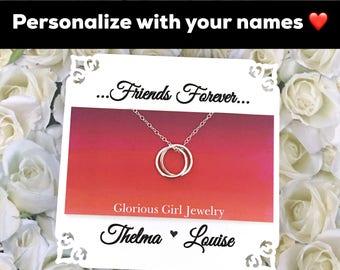 Bijoux Collier amitié pour meilleurs amis argent Sterling demoiselle d'honneur cadeau amitié bijoux meilleur ami connecté cercles superposition pièce