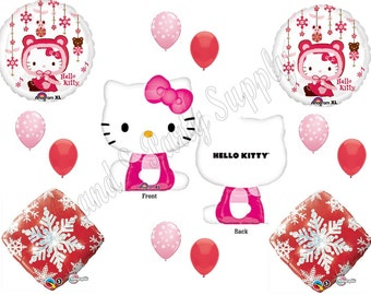 HELLO KITTY Winter Wonderland Happy Birthday party balloons, decorations, supplies Girl Pink Baby Shower