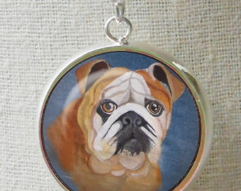 English Bulldog Necklace ~ Birthday Gift ~ Pet Keepsake ~ Gifts for Her ~ Painted Bulldog ~ Bullie Portrait ~ Unique Gift
