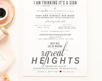 """The Postal Service - """"Such Great Heights"""" - Grey and Red - Valentine's, Wedding Gift, Paper Anniversary Gift, Song Lyrics, Art Print"""