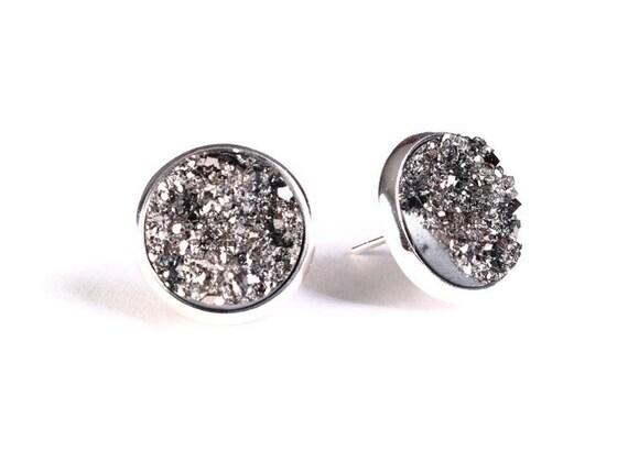 Silver black textured stud earrings - Faux Druzy earrings - Textured earrings - Post earrings (784)