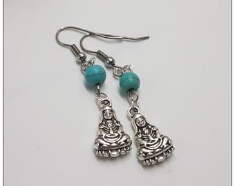 Buddha Earrings, Silver Earrings, Buddha Jewelry, Nickel Free Earrings, Dangle Earrings, Turquoise Silver Earrings