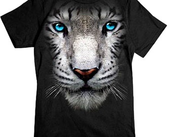 PubliciTeeZ Big Face White Tiger T-Shirt available in Big and Tall Sizes