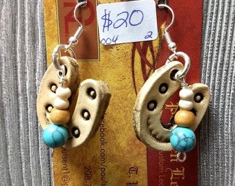 Leather earrings horseshoe hand tooled custom jewelery