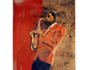 Midnight Jazz Atmosphere, New Orleans Louisiana, Red, saxophonist Music, Original illustration Art Print, Free Shipping in USA.