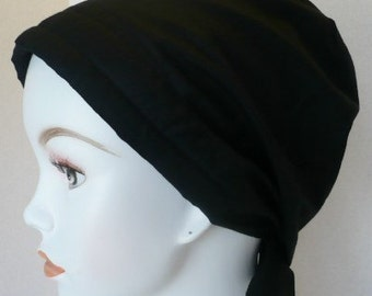 Women's Black Fitted Chemo Scarves Cancer Hat Turban Hair Loss Alopecia Head Covering