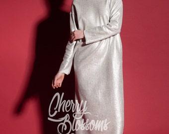 Silver dress/ Long Dress/ Casual dress/ Day dress/ Column dress/ Spring dress/ Summer Dress/ Plus size dress