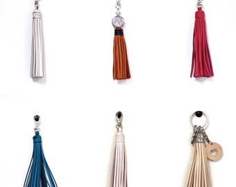Genuine leather tassel, keychain leather tassel, handbag tassels, tassel hook, Leather tassel, leather tassel keychain
