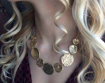 Vintage gold tone coin necklace.