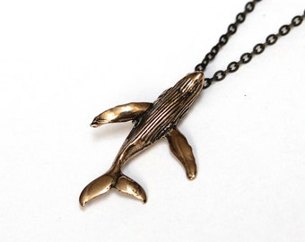 Humpback Whale Necklace in Solid Bronze Breaching Humpback Whale 411