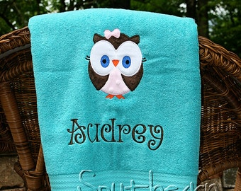 Applique Owl Name Towel Nap Mat Cover Personalized Bath Towel Great Gift  For Kids Bridesmaid Graduation