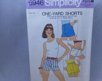 Vintage Simplicity Pattern 6946 One Yard Shorts Misses Size 14 Factory Fold