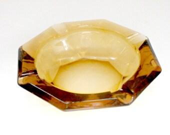 Vintage 70s yellow gold heavy glass ashtray retro antique portable ashtray