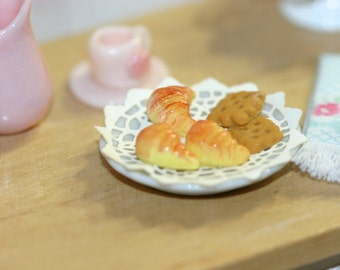 Dollhouse Miniature plate with croissants and cookies