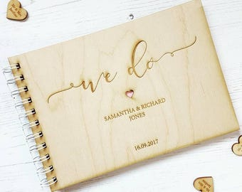 We Do Wooden Wedding Guestbook