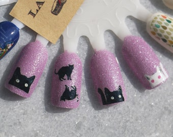 Nail Decal : Black Cats Water Nail Decals Summer Sale!!