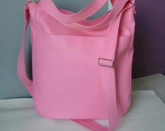 leather purse, vegan leather purse, leather hobo, hobo bag leather, pink crossbody bag, pink hobo bag, pink daily bag, pink diaper bag, hobo