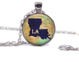 Louisiana Map Pendant Map Necklace Louisiana Jewelry Travel Necklace