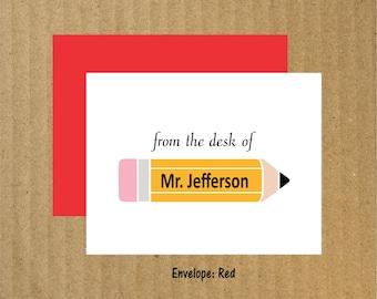 Teacher Note Cards, Set of 10, Teacher Cards, Personalized Teacher Note Cards, End of the Year Teacher Gift, Teacher Stationery, Teacher