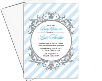 Unique baby boy shower invites printable | baby shower invitations for boys in blue and gray |  digital file or printed - WLP00774
