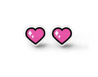 Magical Heart Stud Earrings - Fairy Kei, Harajuku, Soft Grunge