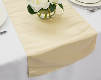 Champagne Table Runner L'amour Satin | Wedding Table Runners