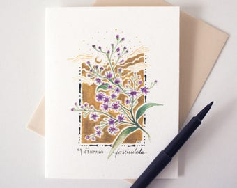 Ironweed Blank Notecard - Wildflower Stationery - Botanical Watercolor Print A2 Card