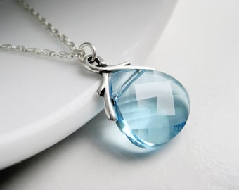Light blue crystal necklace, Swarovski necklace, aqua blue drop pendant, silver chain necklace in handmade